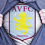 Shirt Digital Art Framed Prints - Businessman Aston Villa Fan Framed Print by Antony McAulay