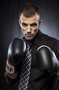 Beautiful People Framed Prints - Businessman Boxer Framed Print by Juan  Silva