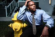 Young Man Photo Originals - Businessman by a Firehydrant by Felix Mizioznikov
