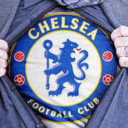 Shirt Digital Art Posters - Businessman Chelsea Fan Poster by Antony McAulay