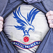 Shirt Digital Art Posters - Businessman Crystal Palace Fan Poster by Antony McAulay