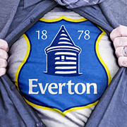 Shirt Digital Art Posters - Businessman Everton Fan Poster by Antony McAulay