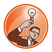 Businessman Framed Prints - Businessman Holding Lightbulb Woodcut Framed Print by Aloysius Patrimonio