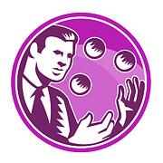 Businessman Juggler Juggling Balls Retro Print by Aloysius Patrimonio
