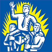 Teamwork Prints - Businessman Leader Prop Up Shoulders Woodcut Print by Aloysius Patrimonio