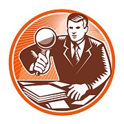 Detective Prints - Businessman Magnifying Glass Looking Documents Print by Aloysius Patrimonio