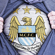 Footie Prints - Businessman Manchester City Fan Print by Antony McAulay