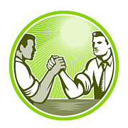Wrestle Prints - Businessman Office Worker Arm Wrestling Print by Aloysius Patrimonio