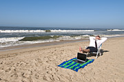Beach Towel Prints - Businessman on beach Print by Joe Belanger