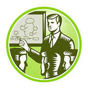 Illustration Board Prints - Businessman Presenting Boardroom Woodcut Print by Aloysius Patrimonio