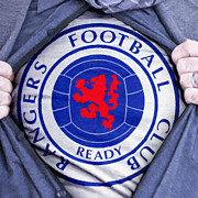 Footie Prints - Businessman Rangers Fan Print by Antony McAulay
