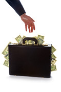Brief Case Posters - Businessman Reaching For A Briefcase Full Of Money Poster by Lee Avison