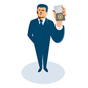 Bouncer Posters - Businessman Secret Agent Showing Id Card Badge Wallet Poster by Retro Vectors