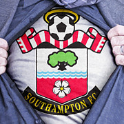 Footie Prints - Businessman Southampton Fan Print by Antony McAulay