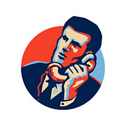 Telephone Digital Art Posters - Businessman Talk Telephone Retro Poster by Aloysius Patrimonio