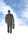Achievement Of Dreams Prints - Businessman walking into sky Print by Joe Belanger