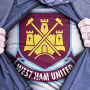 Shirt Framed Prints - Businessman West Ham United Fan Framed Print by Antony McAulay