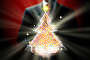 Multimedia Prints - Businessman With Christmas Print by Atiketta Sangasaeng