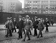 Businessmen Framed Prints - Businessmen Walking In NY Framed Print by Underwood Archives