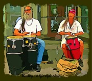 Drummers Digital Art Metal Prints - Busking Life Style Metal Print by John Malone