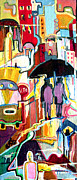Raining Mixed Media Prints - Bussy And Rainy Street Print by Gonzalo Garcia G