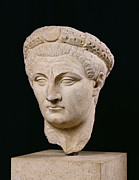 Sculptures Sculptures Sculpture Prints - Bust of Emperor Claudius Print by Anonymous