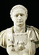 Sculptures Sculptures Sculpture Prints - Bust of Emperor Domitian Print by Anonymous