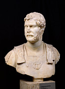 Marble Statue Sculpture Framed Prints - Bust of Emperor Hadrian Framed Print by Anonymous