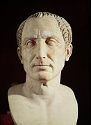 Portraits Sculpture Framed Prints - Bust of Julius Caesar Framed Print by Anonymous