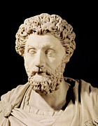 Sculptures Sculptures Sculpture Prints - Bust of Marcus Aurelius Print by Anonymous
