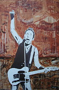 E Street Band Painting Metal Prints - Bust This City In Half Metal Print by Stuart Engel