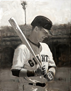 Baseball Paintings - Buster Posey - Quiet Leader by Darren Kerr