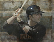 Giants Painting Posters - Buster Training Poster by Darren Kerr
