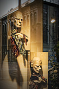 Apparel Framed Prints - Busts with Neckties in Shop Display Window Framed Print by Randall Nyhof
