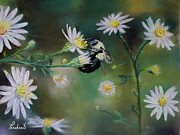 Bee Pastels Posters - Busy Bee - Nature Scene Poster by Prashant Shah