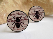 Nature Inspired Jewelry - Busy Bees Mens Cufflinks by Rony Bank