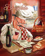 Vino Mixed Media Posters - Busy Chef with Beaujolais Poster by Shari Warren