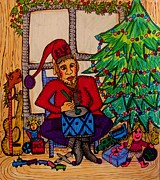 Cheer Drawings Posters - Busy Christmas Elf  Poster by Gerri Rowan