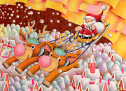 Snowy Night Drawings - Busy Christmas by T Koni