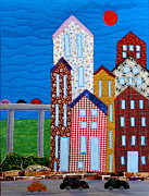 Buildings Tapestries - Textiles - Busy City by Maureen Wartski