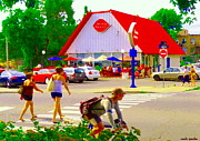 Queen City Paintings - Busy Day The Dairy Queen Along The Bike Path Lachine Canal Montreal Art Urban Scenes Carole Spandau by Carole Spandau