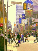 Crosswalks Prints - Busy Downtown Street Scene Crosswalk At Eatons Center Toronto Paintings Urban Canadian Art C Spandau Print by Carole Spandau