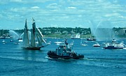 Fireboat Photographs Posters - Busy Halifax Harbor During the Parade of Sails Poster by John Malone