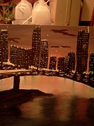 Landscape. Of City At Night And A Bridge. Paintings - Busy Ness by Renee McKnight