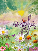 Fanciful Metal Prints - Busy Summer Garden Metal Print by Debbie Portwood
