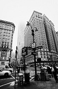Manhatan Photo Prints - Busy Traffic Junction Of West 34th Street St And Broadway With Empire State Building Shrouded Mist Print by Joe Fox
