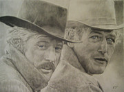 Butch Cassidy Drawings Prints - Butch Cassidy and the Sundance Kid Print by Robbie Douglas
