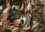Pieter Framed Prints - Butchers Stall Framed Print by Pieter Aertsen