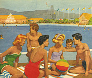 Vintage Posters - ButlinÕs  1950s Uk Holidays Butlins Poster by The Advertising Archives