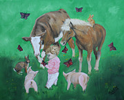 Piglet Paintings - Butterflies by Isabella F Abbie Shores